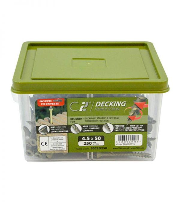 Decking Screws 4.5x65mm 250No - Screws and Fixings